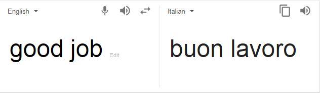 Good job in Italian